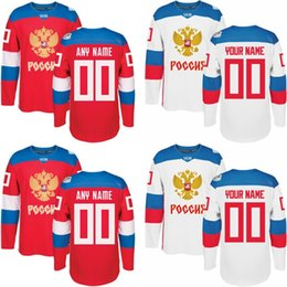 Wholesale 3xl Hockey Jersey - Men's 2016 Custom Hockey Jersey ANY NAME AND NUMBER Russia Hockey Red World Cup of Hockey M-3XL