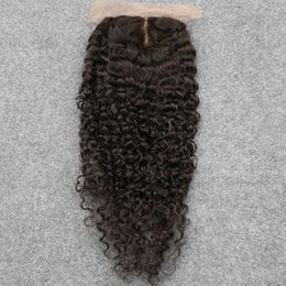 """Wholesale Soft Virgin Curly Hair - Slove Cheap Middle Part Virgin Brazilian Kinky Curly Lace Closure With Baby Hair 4*4"""" Natural Color Soft Afro Kinky Curly Closures"""
