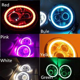 "Wholesale Halo Headlight Kits - 1Pcs For Harley Bike 7"" Round Led Headlight Assembly With 7inch Halo Angel Eyes H4 adaptor Hi Low 40w DRL LED Headlamp Kit"