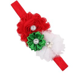 Wholesale Infant Girl Christmas Headband - Xmas fahsion Christmas Gift Baby Flower Headband Solid Color Girl Children Infant Baby Hairband Hair Accessories Elasticity free shipping