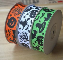 Wholesale Gift Package Ribbon - Halloween monsters printed grosgrain tape Width 25mm multicolor witch pumpkins bats Gift packaging ribbon 100 yards = 1 piece
