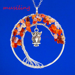 Wholesale Crystal Owl Pendant Necklace - Natural Gem Stone Pendulum Owl Life Tree Pendants Necklace Chain Reiki Charms Accessories European Healing Amulet Fashion Jewelry For Women