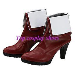 Wholesale Custom Made High Heels - Wholesale-Freeshipping custom-made anime Kyokai no Kanata Kuriyama Mirai Dark Red Cosplay High heel shoes Boots for Halloween Christmas