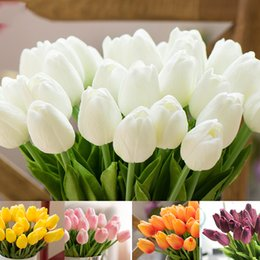 Wholesale Artificial Silk Tulips - PU Fake Artificial Silk Tulips Flores Artificiales Bouquets Party Artificial Flowers For Home Wedding Decoration 170926