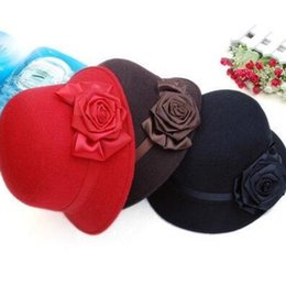 Wholesale Ladies Fashion Hats Small - Elegant Women's Fashion Cap Ladies Flower Rose Bucket Hat Women Small Fedoras Hat Cloche Headwear fisherman caps 5 Colors Free Shipping