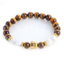 Wholesale Turquoise Mens Bracelet - 2016 Newest Gold Buddha To Buddha Skull Bracelet Natural Stone Yoga Mala Turquoise Buddha Beads Bracelet for Mens Women Good Quality