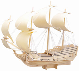 Wholesale Warship Toys - Free shipping------ In 2016 Year New Product's Falcon Warships 3 d Wooden Simulation Stereo DIY Assembly Model Educational Toys