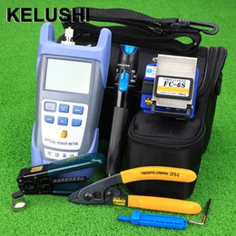 Wholesale Optics Kits - Wholesale- KELUSHI Fiber Optic FTTH Tool Kit with FC-6S Fiber Cleaver and Optical Power Meter 5km Visual Fault Locator 1mw Wire stripper