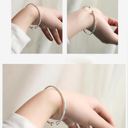 Wholesale Cuff Rings Wholesale - S925 Fine Jewelry Fashion Women Silver Beads Ball Bangle Cuff Bracelet 925 Stering Silver Bangles Silver Accessories Smooth Brief Hand Ring