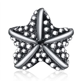 Wholesale 925 Sterling Silver Starfish - Wholesale New Arrival Beautiful Starfish Charm 925 Sterling Silver European Charms Beads Fit DIY Snake Chain Bracelets Bangle Jewelry