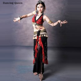 Wholesale Tribal Belly Dance Tassels Costumes - Belly Dancing Clothes Red White Women Bellydance Lady Bollywood Dance Costumes Embroidery Tribal Indian Dresses Danca Do Ventre