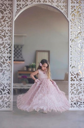 Wholesale Sexy Hot Girl Image - Hot Selling Blush Pink Sweety 2018 A line Flower Girls Dresses Jewel Sexy Back sleeveless Empire Tulle Pleats Sweep Train Communion Dress
