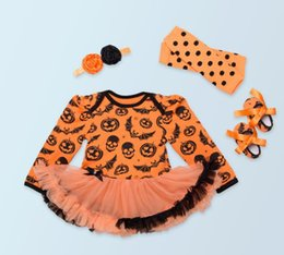 Wholesale Pumpkin Headbands - Halloween Costume Baby Girls Orange Pumpkin Romper Long Sleeve Romper+Head wear+Leggings+Shoes 4 Pieces Black Color 4 sets l