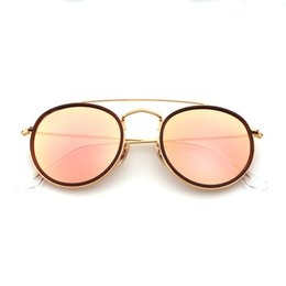 Wholesale Mirror Packaging - Highest Quality Round Style Sunglasses Alloy PU frame Mirrored glass lens 51mm for Men women double Bridge Retro Eyewear with package 3647