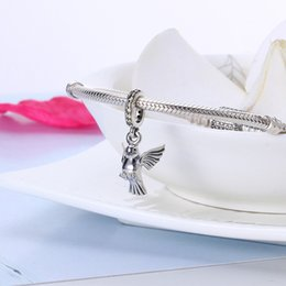 Wholesale Dangle Peace - Authentic 925 Silver Beads Peace Dove Dangle Charms, Clear CZ Fits European Style Jewelry Bracelets
