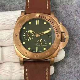 Wholesale Men Real Watches - 47MM pam507 pam00507 pam 507 real bronze tough men Submersible 1950 3 Days Power Reserve Automatic P.9002 Bronzo watch men wristwatch