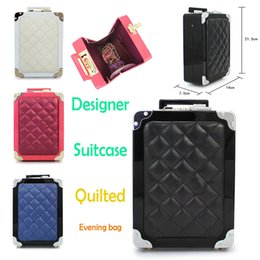 Wholesale Evening Clutch Bags Navy - Brand Designer Quilted Thread Suitcase Shape Evening Bag Trunk Handbag Purse Summer Party Messenger Tote Box Case Patchwork Lady Luggage