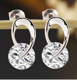 Wholesale Silver Earings Zircon - Women's Jewelry Gift Silver Plated Zircon Crystal Earring Eardrop Earbob Ear Studs Women Pendientes Earings
