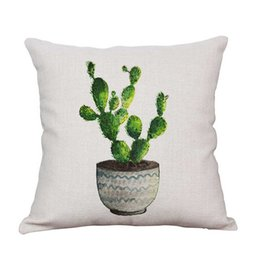 Wholesale Decorative Cactus - muchun Brand Pillow Case for Christmas Gift Cactus Cotton Linen 45*45cm New Year Product Home Textiles Decorative Pillow Cover