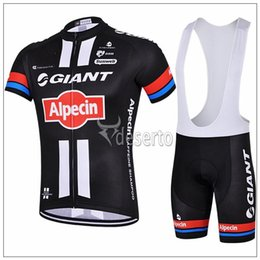 Wholesale Cycling Jersey Suit Giant - Moisture-wicking Black Cycling Jersey Sets Ropa Ciclismo Giant Alpecin Summer Short Cycling Suit Bicycle Clothing Breathable Padded Pants