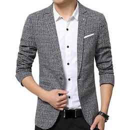 Wholesale Color Block Suit Jacket - New 2017 Men's Fashion Autumn Color Block One Button Slim Fit Notched Blazer Jacket Leisure suit Coat
