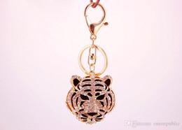 Wholesale Tiger Head Pendants Wholesale - 30pcs llaveros!creative Rhinestone Animals tiger head Pendant Key chains Ring holder Fashion purse porte clef Keyring gift 2225