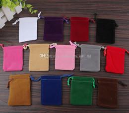 Wholesale Velvet Drawstring Pouches - 5*7cm velvet drawstring bags Gift bag Flocked phone bags Jewelry pouch 100pcs Wholesale