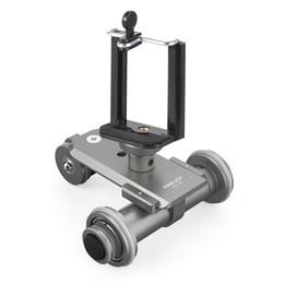 dolly para dslr cámara Rebajas PPL-06 Motorizado eléctrico de 3 ruedas de la polea del coche Dolly Rolling Slider Skater para Canon DSLR Camera + Smartphone Holder