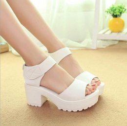 Wholesale Thick Heel Wedges - wholesale Fashion Sandals Women Summer shoes 2016 wedges Open Toe Thick Heel Mujer Soft PU Women Platform Sandals high-heeled Shoes Woman
