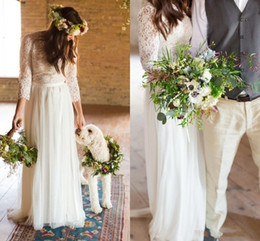 Wholesale Three Quarter Length Sleeve Plus - 2017 Wedding Dresses Vintage Lace Three Quarter Sleeves Button Back Floor Length Bohemian Beach Plus Size Country Party Dress Bridal Gowns