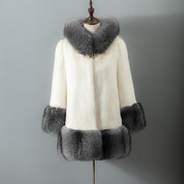 Wholesale Black Mink Fur Coat Hood - Autumn Winter fashion fur coat women faux mink coat female fox fur collar hats long section artificial fur hooded jackets coats