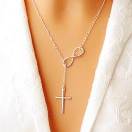 Wholesale Long Silver Pearl Cross Necklace - New Women Plain Infinity Cross Pendant Silver Plated Long Chain Necklace Jewelry Pendant Necklaces Charm Christian Cross necklace Jewellry