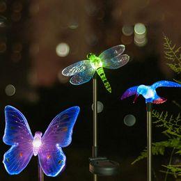Wholesale Solar Bird Light Garden - Wholesale-LED Solar Light Outdoor Dragonfly Butterfly Bird Type Solar Lamp Plastic Outdoor LED Solar Garden Light Top Sale Garden Decor