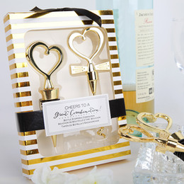Wholesale Stainless Steel Heart Bottle Stoppers - 10pcs Gold Heart Wine Bottle Opener & Stopper Set with Gift box Wedding Favors Party Christmas Gift