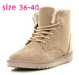 Wholesale Korean Women Flat Ankle Boots - Autumn and Winter Casual Shoes Women's Suede Thicken Warm Snow Ankle Korean Version Boots
