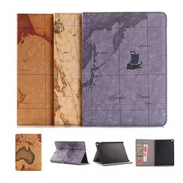 Wholesale Folding Maps - Retro World Map Cover Ultra thin credit card slots wallet Case for Apple iPad mini 2 3 4 air 1 2 pro 10.5 9.7 12.9 2017 with Stand Holder