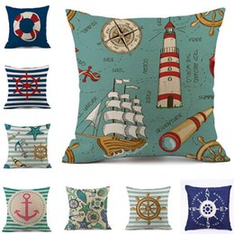Wholesale Navigation Settings - Hot Ocean Pillow Case Mediterranean Wind Pillowcase Blue Cotton and Marble Navigation Mark Cushion Covers Pillow Sets