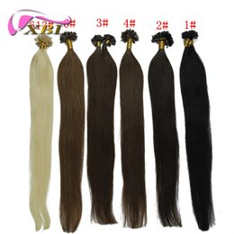 "Wholesale keratin bonded hair extensions - 20"" 50G Natural keratin Capsule prebonded U Nail Tip Hair Extension Flat Tip Hair Extensions 6 Color Available,100s bag"