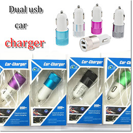 Wholesale Usb Car Adapter Colors - dual port usb mini car charger adapter 2.1A+1A power plug with 5 colors for samsung s6 s7 note 7 iphone 6 7 7 plus with retail package