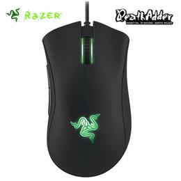 Iluminación de desplazamiento online-Al por mayor- Razer Deathadder 2013 Gaming Mouse 6400DPI 4G Sensor óptico Rueda de desplazamiento Hyperesponse Botones Verde LED Iluminación Synapse 2.0
