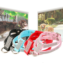 Wholesale Cat Collars Bling - New fashion PU Luxury Diamante Dog Collar Rhinestone Crystal Bling Faux Leather Cats Dogs