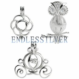 Wholesale Owl Pendant Jewellery - 3 Pieces Wishing Pearl Flower Owl Carriage Cage Pendant 925 Sterling Silver Gift Jewellery Pendant Mounting for Pearl Party