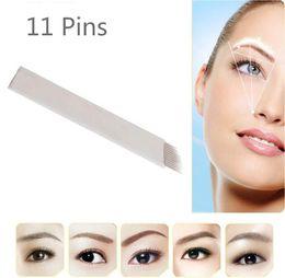 Wholesale 11 Needle - 50 PCS 11 pin Permanent Makeup Manual Eyebrow Tattoo Bevel Blades 11 Needles