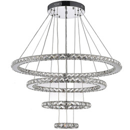 Wholesale Cottage Ceiling Lights - VALLKIN Round Ring LED Crystal Pendant Light Ceiling Chandeliers Lighting Fixtures for Hotel Hallway with 120W AC100 to 240V CE FCC ROHS