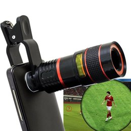 Wholesale 8x Zoom Lens For Phone - Wholesale-2016 Hot 8X Zoom Clip-on Telescope Camera Optical Lens For Various Cell Phone for iPhone 6 For Samsung Smart Phone Telescope