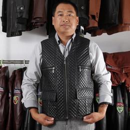Wholesale Leather Jackets Lambskin Sheepskin - Fall-BLACK 100% REAL SHEEPSKIN LAMBSKIN SHEARLING LEATHER MEN VEST GILET JACKET L-4XL