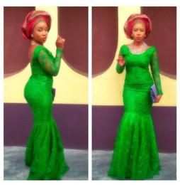 Moda verde esmeralda vestido on-line-Estilo Ankara Verde Esmeralda Rendas Sereia Vestidos de Baile 2019 Moda Árabe Africano Mangas Compridas Evening Vestidos Até O Chão