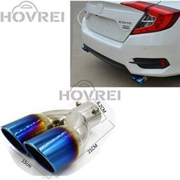 Wholesale Muffler Dual Tip - Car stainless steel 1 to 2 Dual exhaust pipe Mufflers Tip Pipe for Honda Civic 10th 2016 2017 Car Rear Tail Throat Exhause