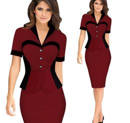 Wholesale elegant women wear - 2018 Women Elegant Autumn Work Dress Career Contrast Faux Twinset Wear to Work Casual Fitted Sheath Bodycon Fashion Office OL Dress FS0350