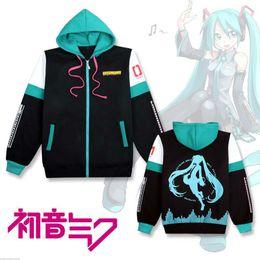 Wholesale Hatsune Miku Anime - 2017 Hatsune Miku hooded sweatshirt outwear Coat women clothing cosplay costume girls clothes spring zipper coats and jackets